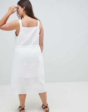 photo Button Through Casual Midi Sundress by ASOS DESIGN Curve, color White - Image 2