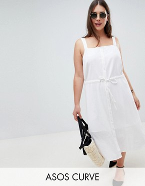 photo Button Through Casual Midi Sundress by ASOS DESIGN Curve, color White - Image 1