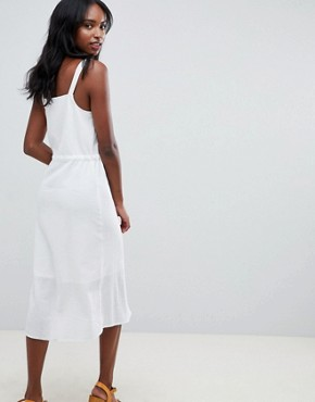 photo Button Through Casual Midi Sundress by ASOS DESIGN Tall, color White - Image 2