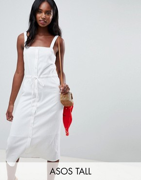 photo Button Through Casual Midi Sundress by ASOS DESIGN Tall, color White - Image 1