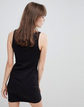 photo Button Front Jersey Mini Dress by Monki, color Black - Image 2
