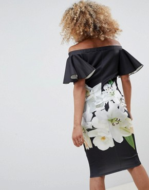 photo Bardot Dress with Floral Print by Jessica Wright, color Black - Image 2