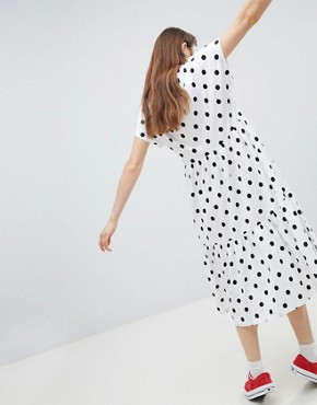 photo Polka Dot Tiered Midi Dress by Monki, color White - Image 2