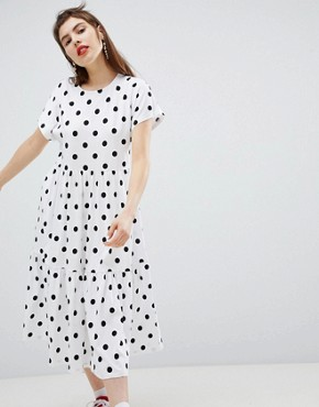 photo Polka Dot Tiered Midi Dress by Monki, color White - Image 1