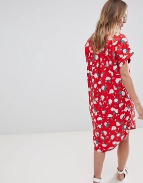 photo Floral Polka Dot Shirt Dress by Monki, color Red - Image 2