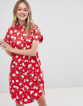 photo Floral Polka Dot Shirt Dress by Monki, color Red - Image 1