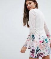 photo Long Sleeve Shift Dress in Floral Border Print by Jessica Wright, color Cream - Image 2