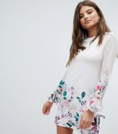 photo Long Sleeve Shift Dress in Floral Border Print by Jessica Wright, color Cream - Image 1