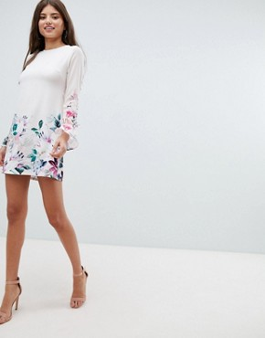 photo Long Sleeve Shift Dress in Floral Border Print by Jessica Wright, color Cream - Image 4