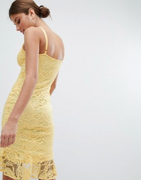 photo Lace Pencil Dress with Pephem by Jessica Wright, color Yellow - Image 2