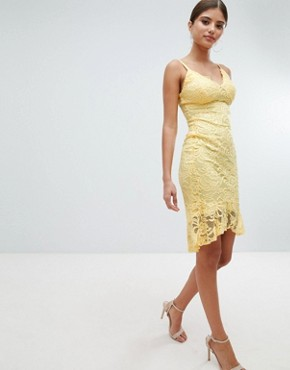 photo Lace Pencil Dress with Pephem by Jessica Wright, color Yellow - Image 4