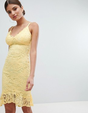 photo Lace Pencil Dress with Pephem by Jessica Wright, color Yellow - Image 1