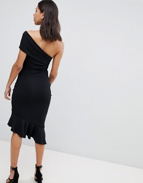 photo Asymetric Pephem Dress by Jessica Wright, color Black - Image 2