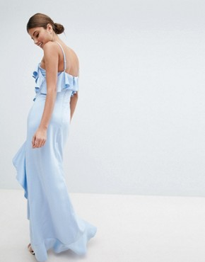 photo Cold Shoulder Maxi Dress with Frill Detail & Side Slit by Jessica Wright, color Blue - Image 2