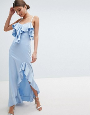 photo Cold Shoulder Maxi Dress with Frill Detail & Side Slit by Jessica Wright, color Blue - Image 1