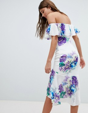 photo Bardot Floral Dress with Frill Hem by Jessica Wright, color White - Image 2