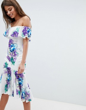 photo Bardot Floral Dress with Frill Hem by Jessica Wright, color White - Image 1