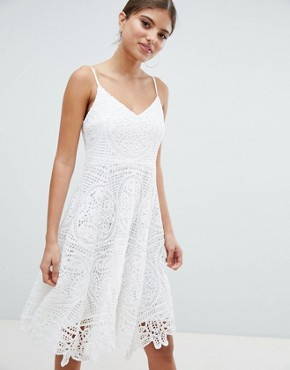 photo Lace Skater Dress by Jessica Wright, color Cream - Image 1