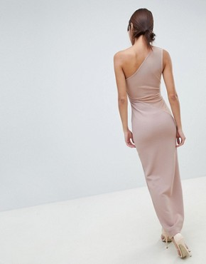 photo One Shoulder Minimal Rib Mesh Maxi Dress by ASOS DESIGN, color Nude - Image 2