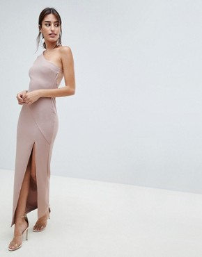 photo One Shoulder Minimal Rib Mesh Maxi Dress by ASOS DESIGN, color Nude - Image 1