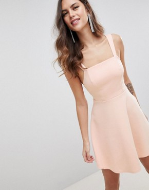 photo Square Neck Mini Prom Dress by ASOS DESIGN, color Nude - Image 1