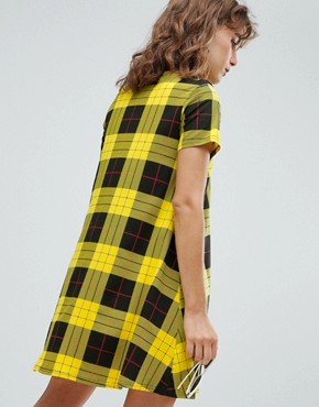 photo Speech Bubble High Neck Check Dress by Cheap Monday, color Yellow Check - Image 2