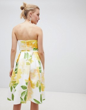 photo Floral Bandeau Crop Top Prom Midi Dress by ASOS DESIGN, color Multi - Image 2