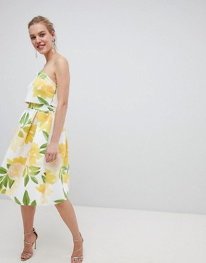 photo Floral Bandeau Crop Top Prom Midi Dress by ASOS DESIGN, color Multi - Image 1