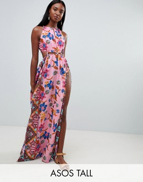 photo Rope Trim Cut Out Paisley Print Plunge Beach Maxi Dress by ASOS DESIGN Tall, color Folk Paisley - Image 1