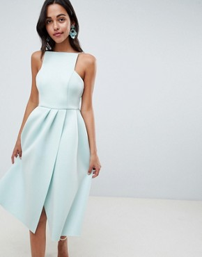 photo Strappy Open Back Prom Dress by ASOS DESIGN, color Dusty Aqua - Image 1