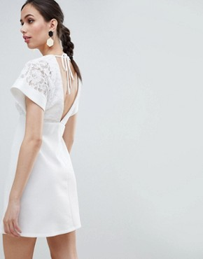 photo Lace Kimono Sleeve Mini Dress by ASOS DESIGN, color Ivory - Image 2