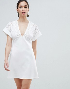 photo Lace Kimono Sleeve Mini Dress by ASOS DESIGN, color Ivory - Image 1