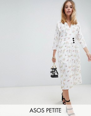 photo Pleated Maxi Dress with Side Buttons in Ditsy Floral by ASOS DESIGN Petite, color Multi - Image 1