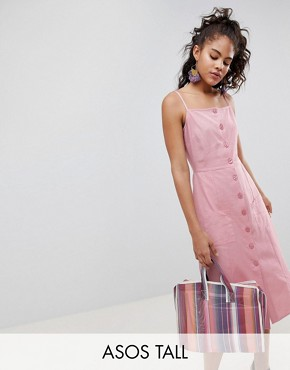 photo Button Through Linen Midi Sundress by ASOS DESIGN Tall, color Blush - Image 1