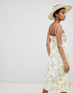 photo Button Through Linen Midi Sundress in Floral Print by ASOS DESIGN Tall, color Multi - Image 2
