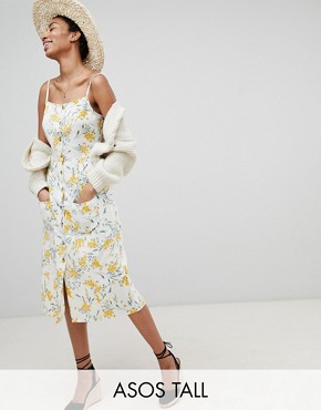 photo Button Through Linen Midi Sundress in Floral Print by ASOS DESIGN Tall, color Multi - Image 1