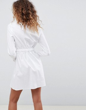 photo Cotton Gathered Waist Shirt Dress by ASOS DESIGN, color White - Image 2