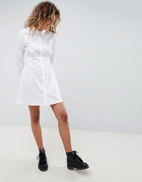 photo Cotton Gathered Waist Shirt Dress by ASOS DESIGN, color White - Image 1