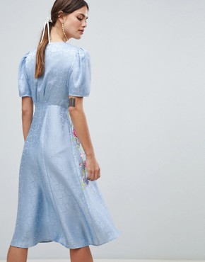 photo Jacquard Embroidered Midi Tea Dress by ASOS DESIGN, color Blue - Image 2