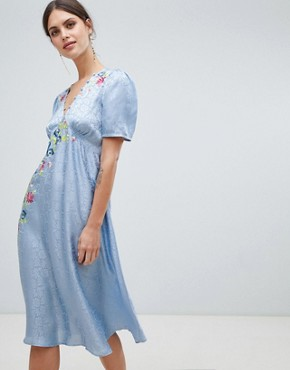photo Jacquard Embroidered Midi Tea Dress by ASOS DESIGN, color Blue - Image 1