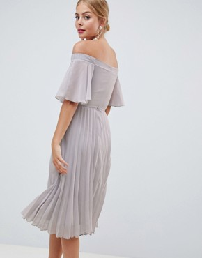 photo Off Shoulder Pleated Midi Dress by ASOS DESIGN, color Grey - Image 2