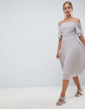 photo Off Shoulder Pleated Midi Dress by ASOS DESIGN, color Grey - Image 1