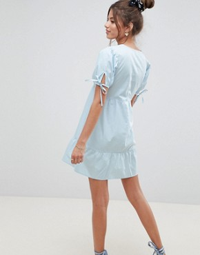 photo Tiered Cotton Smock Mini Dress by ASOS DESIGN, color Ice Blue - Image 2