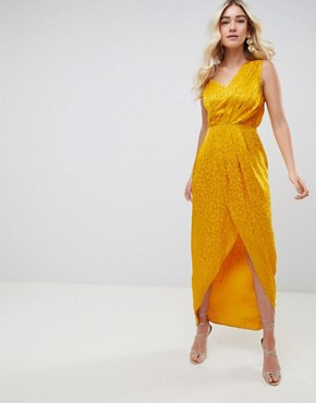 photo Soft Jacquard Maxi Dress with Cut Out by ASOS DESIGN, color Gold - Image 1