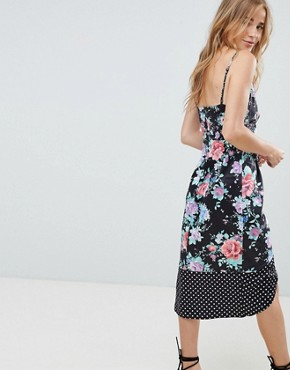 photo Mixed Floral and Spot Print Midi Dress by ASOS DESIGN, color Spot And Floral - Image 2