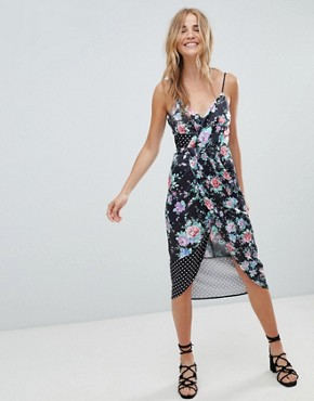 photo Mixed Floral and Spot Print Midi Dress by ASOS DESIGN, color Spot And Floral - Image 1
