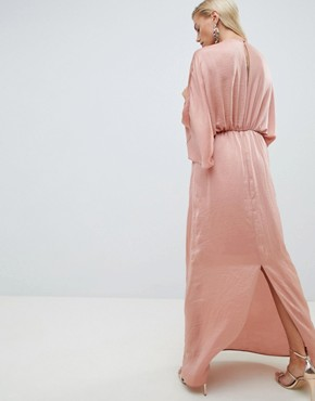 photo Kimono Maxi Dress in Satin by ASOS DESIGN, color Dusty Rose - Image 2