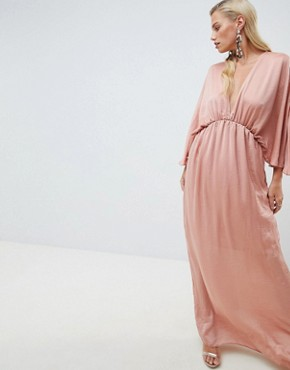 photo Kimono Maxi Dress in Satin by ASOS DESIGN, color Dusty Rose - Image 1