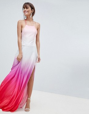 photo Ombre Pleated Maxi Dress by ASOS DESIGN, color Multi - Image 1
