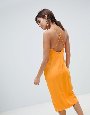 photo Strappy Knot Side Midi Dress in Satin by ASOS DESIGN, color Orange - Image 2